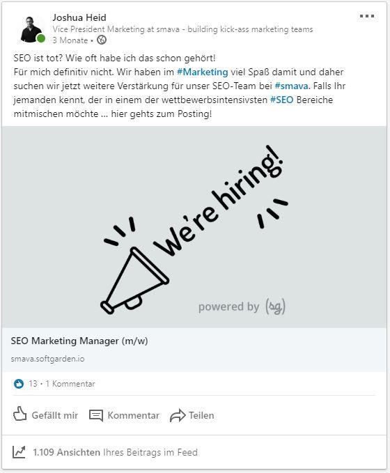 Optimierte Stellenanzeige Beitrag LinkedIn